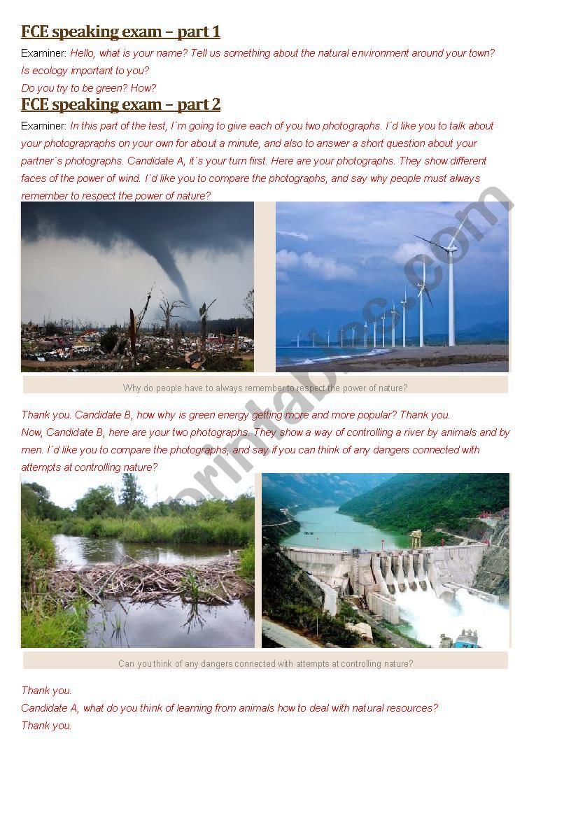 FCE exam - Speaking Paper - 4 worksheet