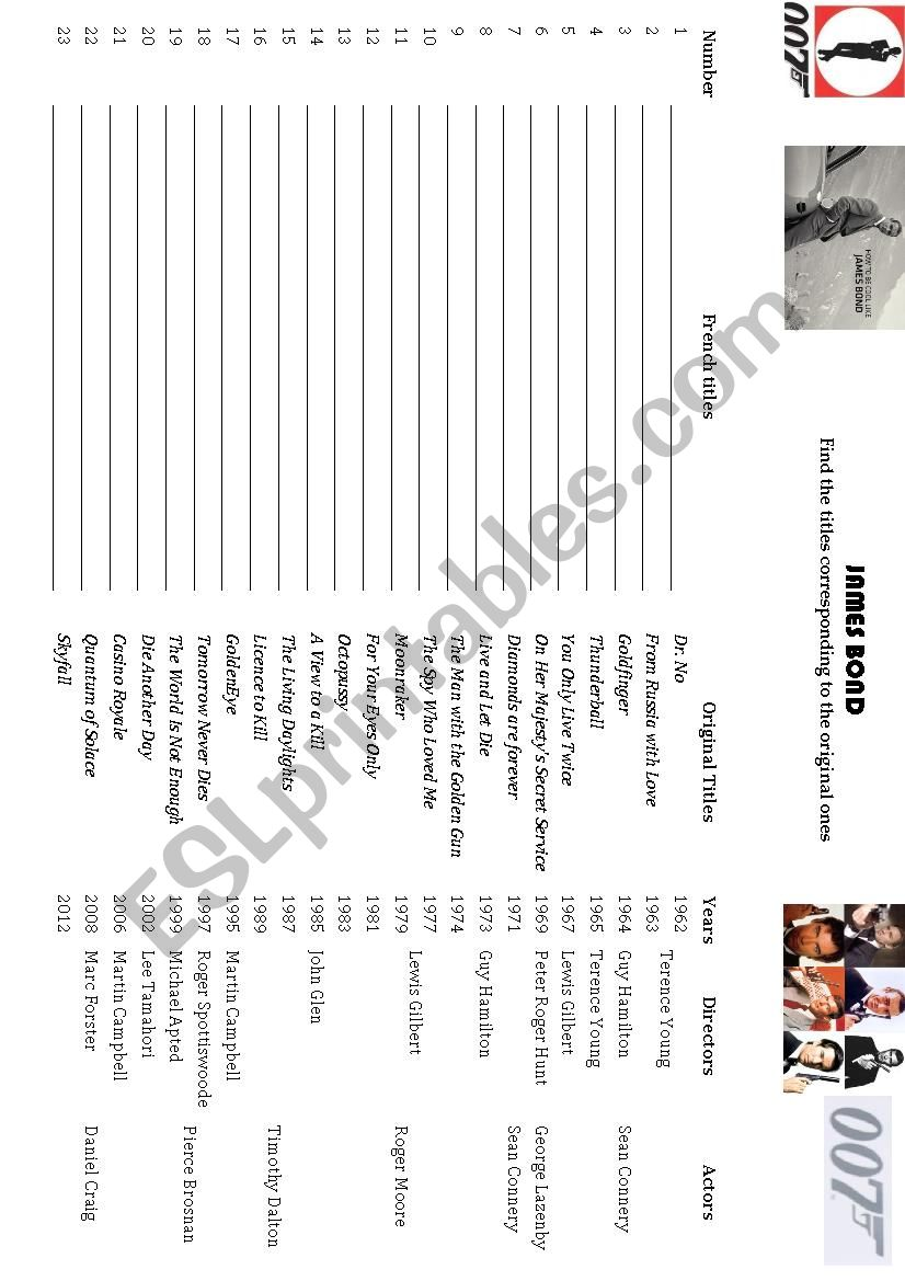 James bond movies worksheet