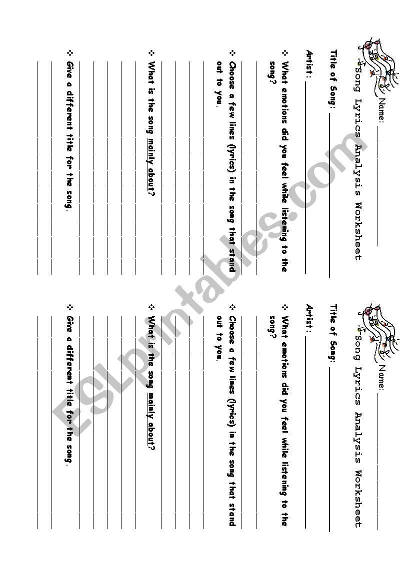 Generic - Song Lyrics Analysis Worksheet - ESL worksheet by andritzgp
