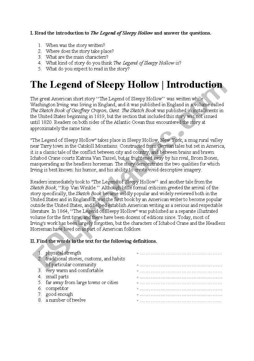The Legend Of Sleepy Hollow Esl Worksheet By Isiss