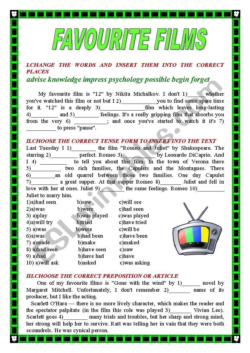 FAVOURITE FILMS worksheet