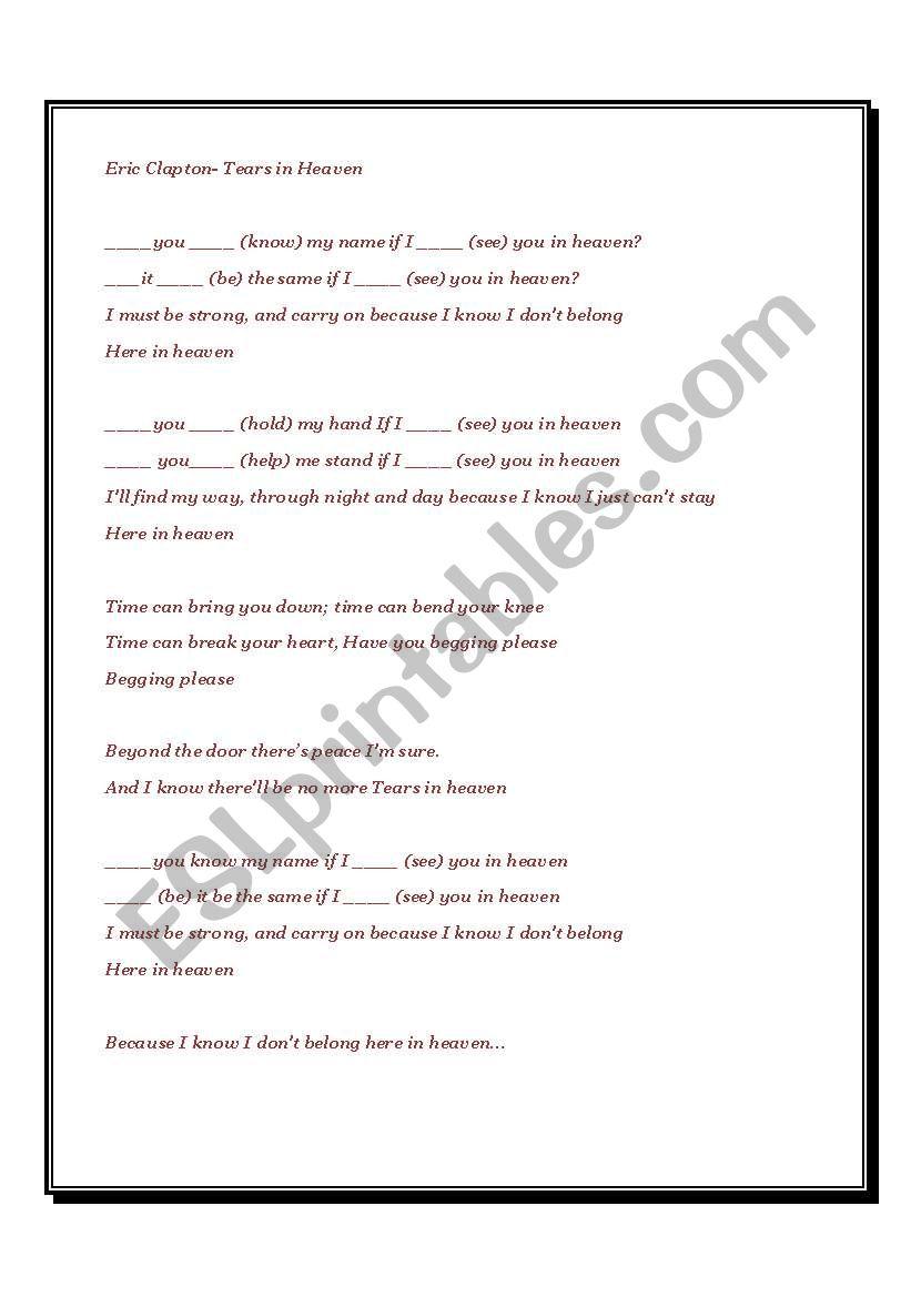 Tears in Heaven by Eric Clapton - ESL worksheet by ironik