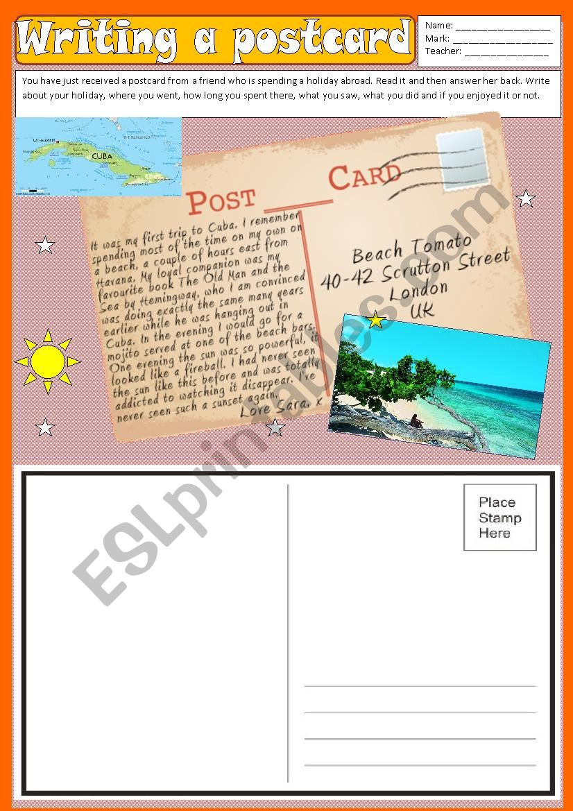 Writing - A postcard (Holiday)