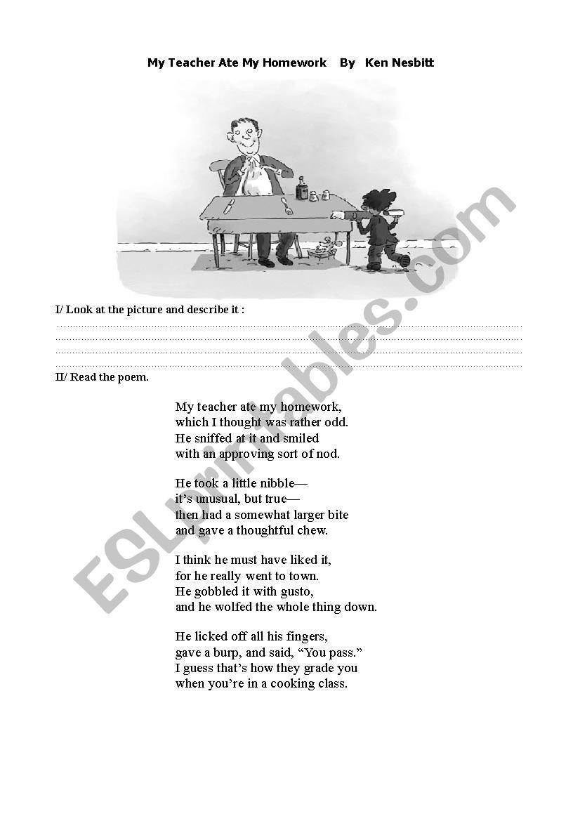 Poem My teacher ate my homework - ESL worksheet by zazou