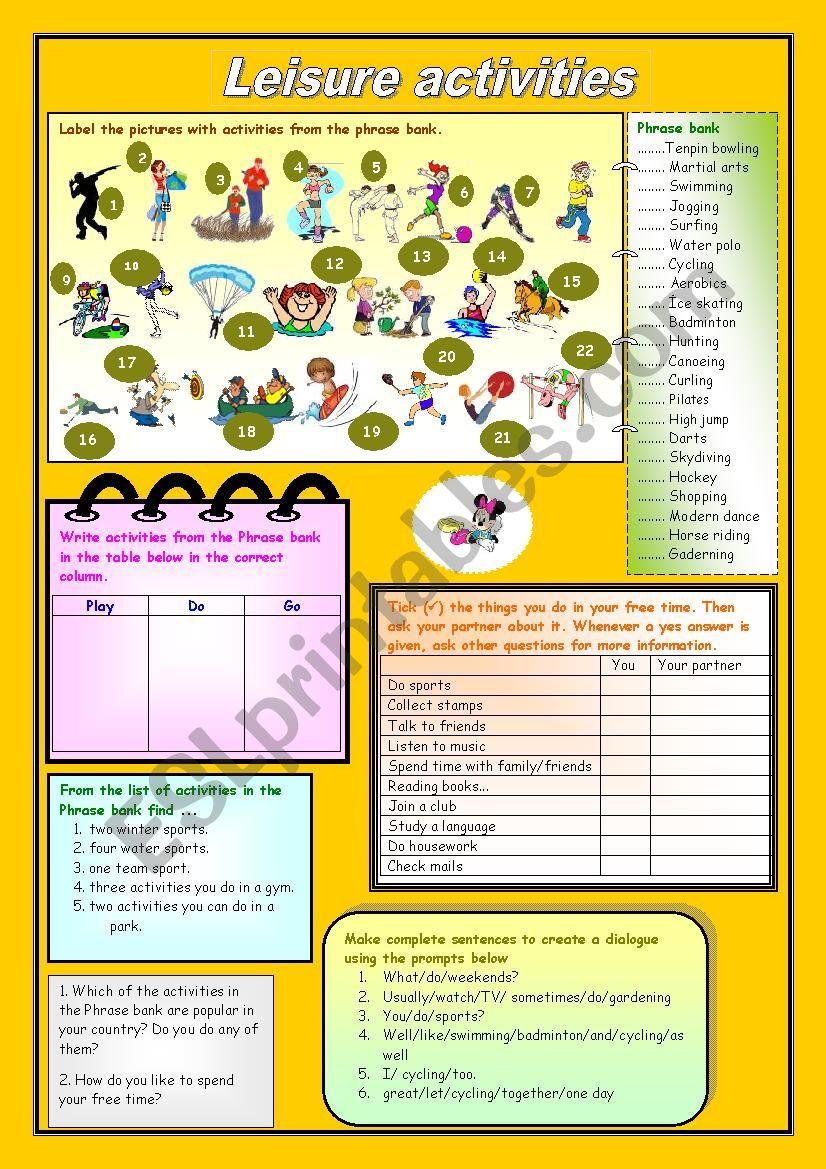 Leisure activities worksheet