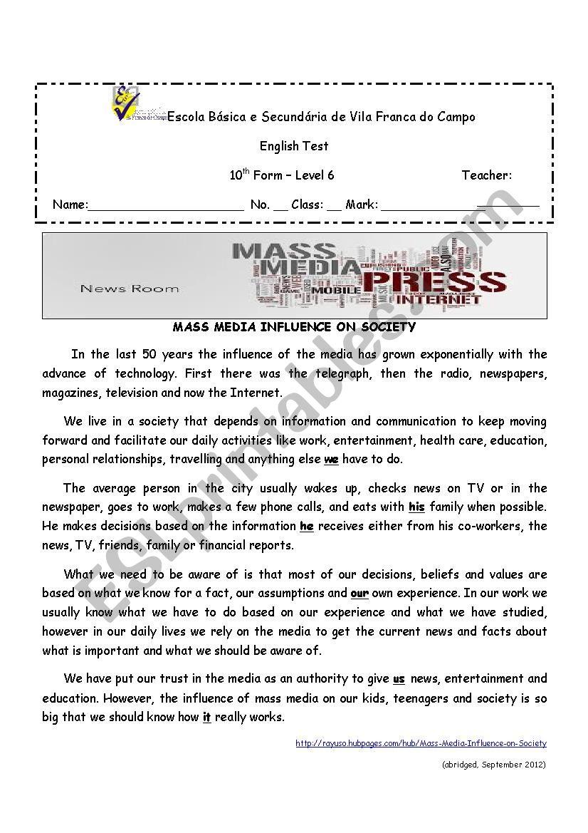 Influence of Media on society worksheet