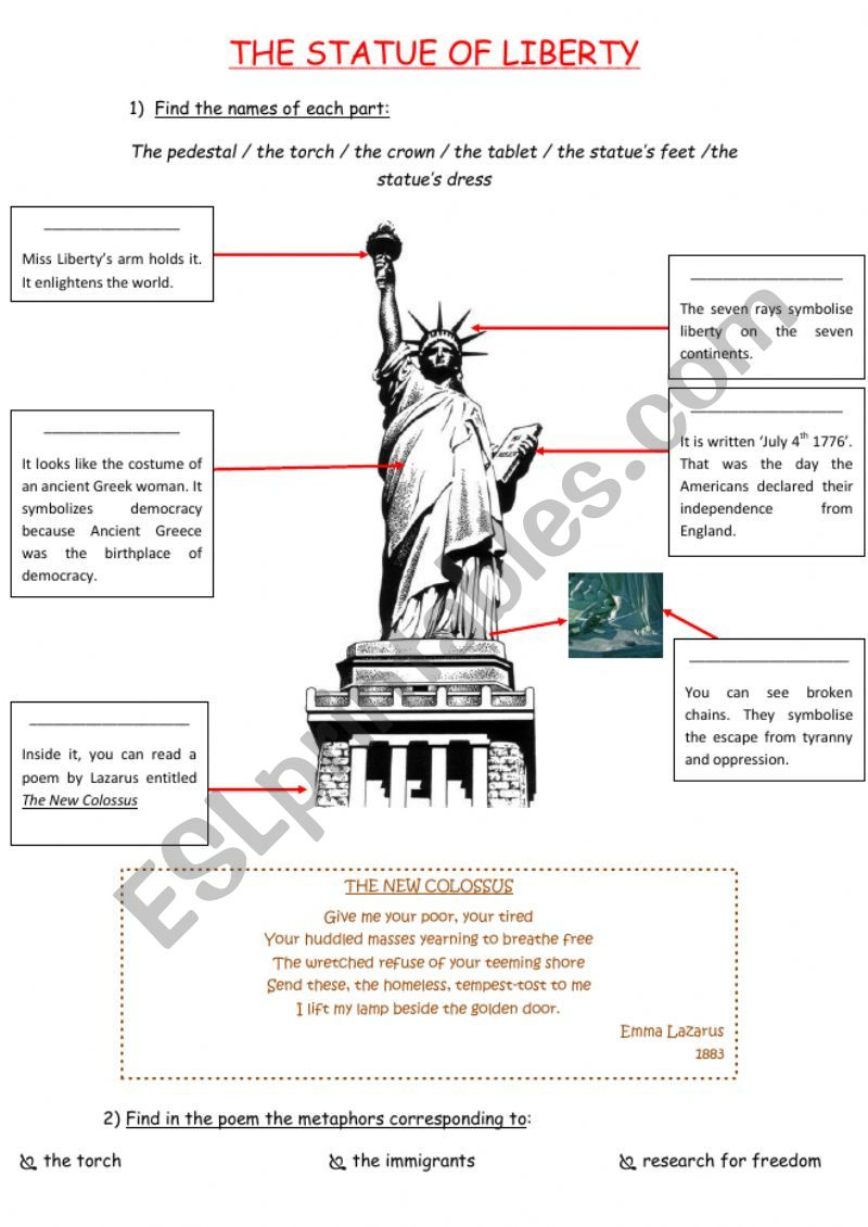 Statue of Liberty Symbols worksheet