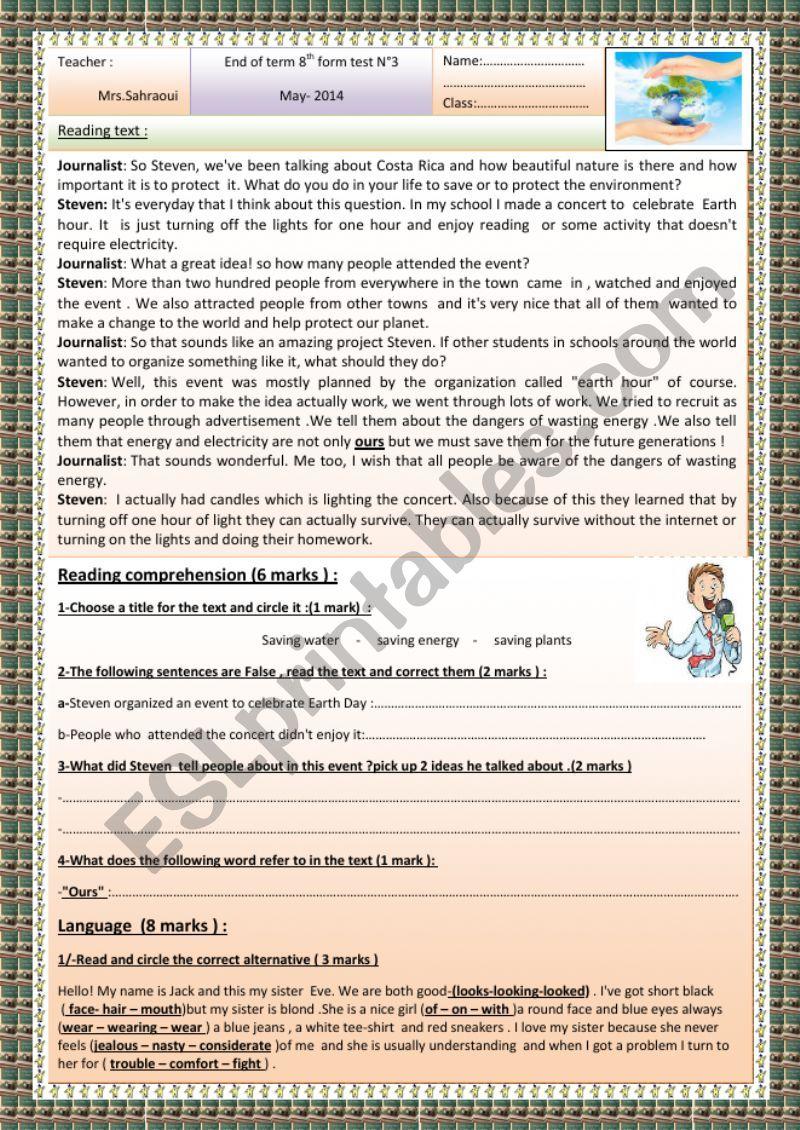 8th form end of term test 3 worksheet