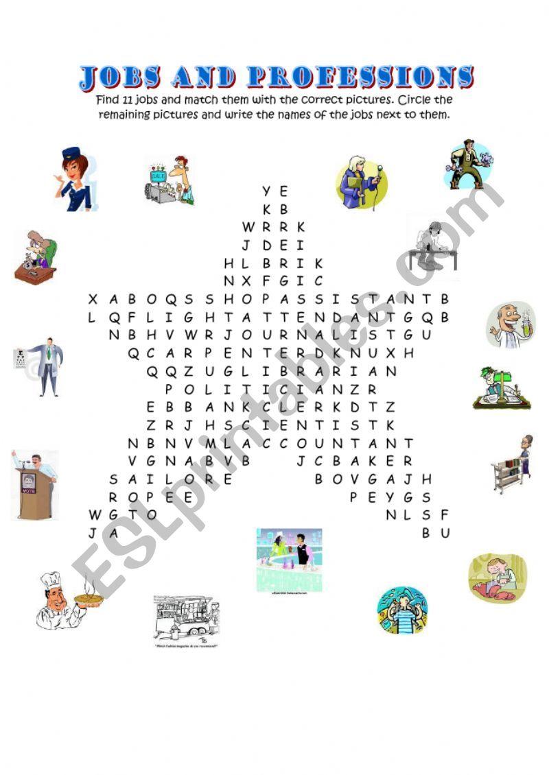 WORDSEARCH Professions!!!! worksheet