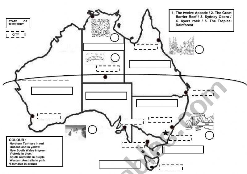 Map Of Australia Worksheet.Australia Map Esl Worksheet By Hedgehog