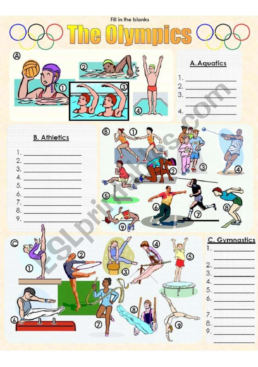 The Olympics Picture Dictionary 1 - Fill in the Blanks