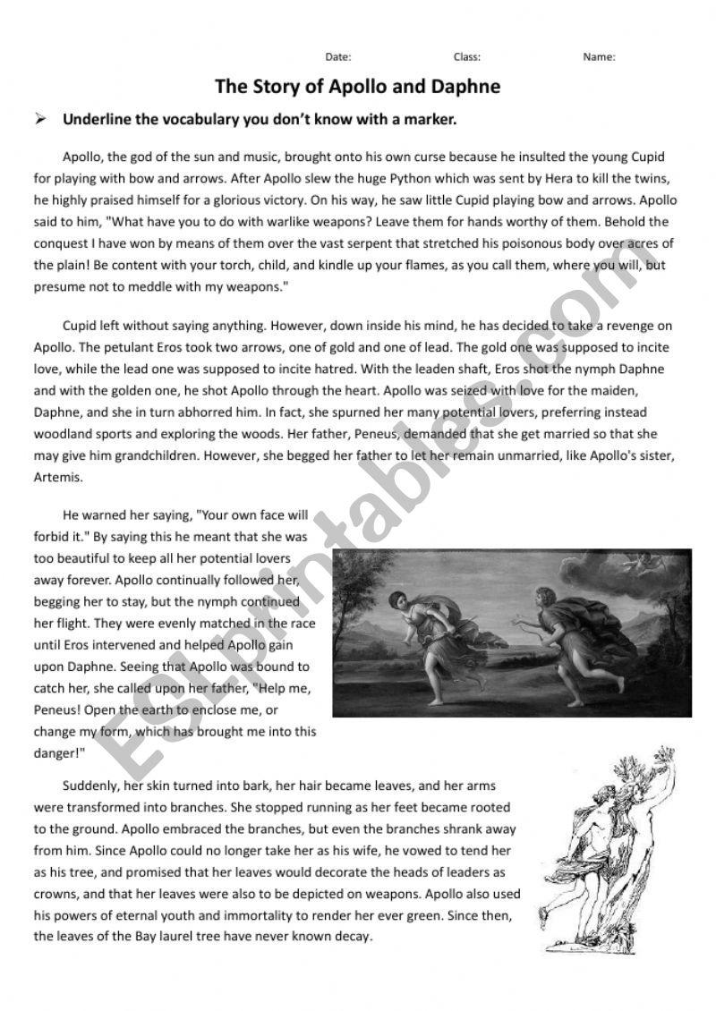 Greek Mythology Apollo And Daphne Esl Worksheet By