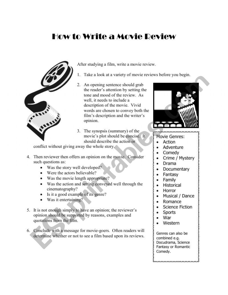 how to write a movie review  esl worksheet
