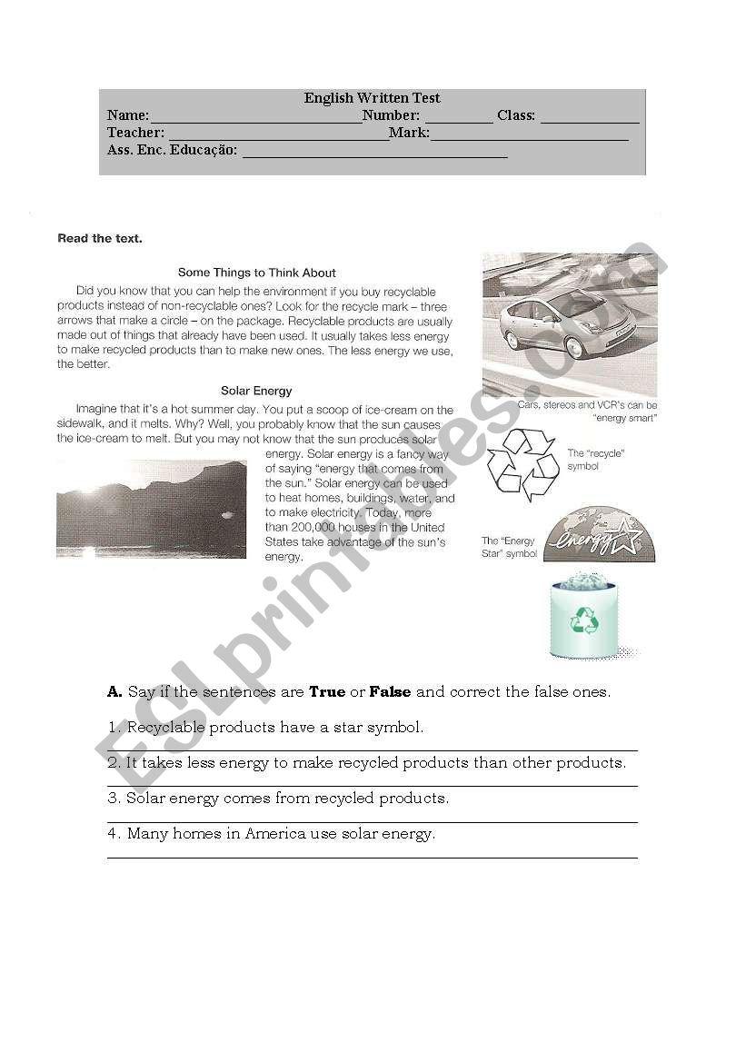 Environmental test worksheet