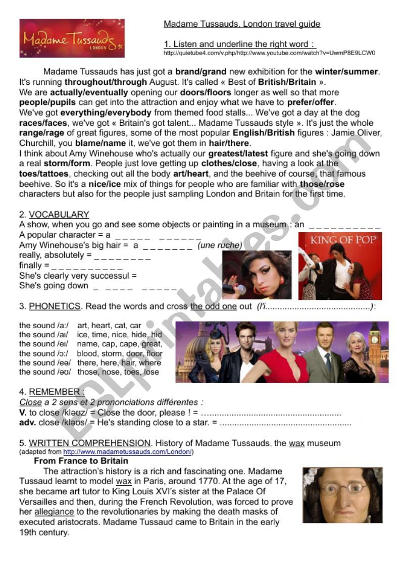 Madame Tussauds, video and biography