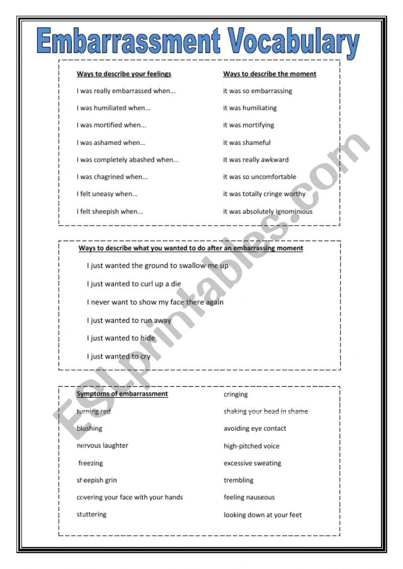 Speaking Activity and Vocabulary on Embarrassment and Embarrassing moment