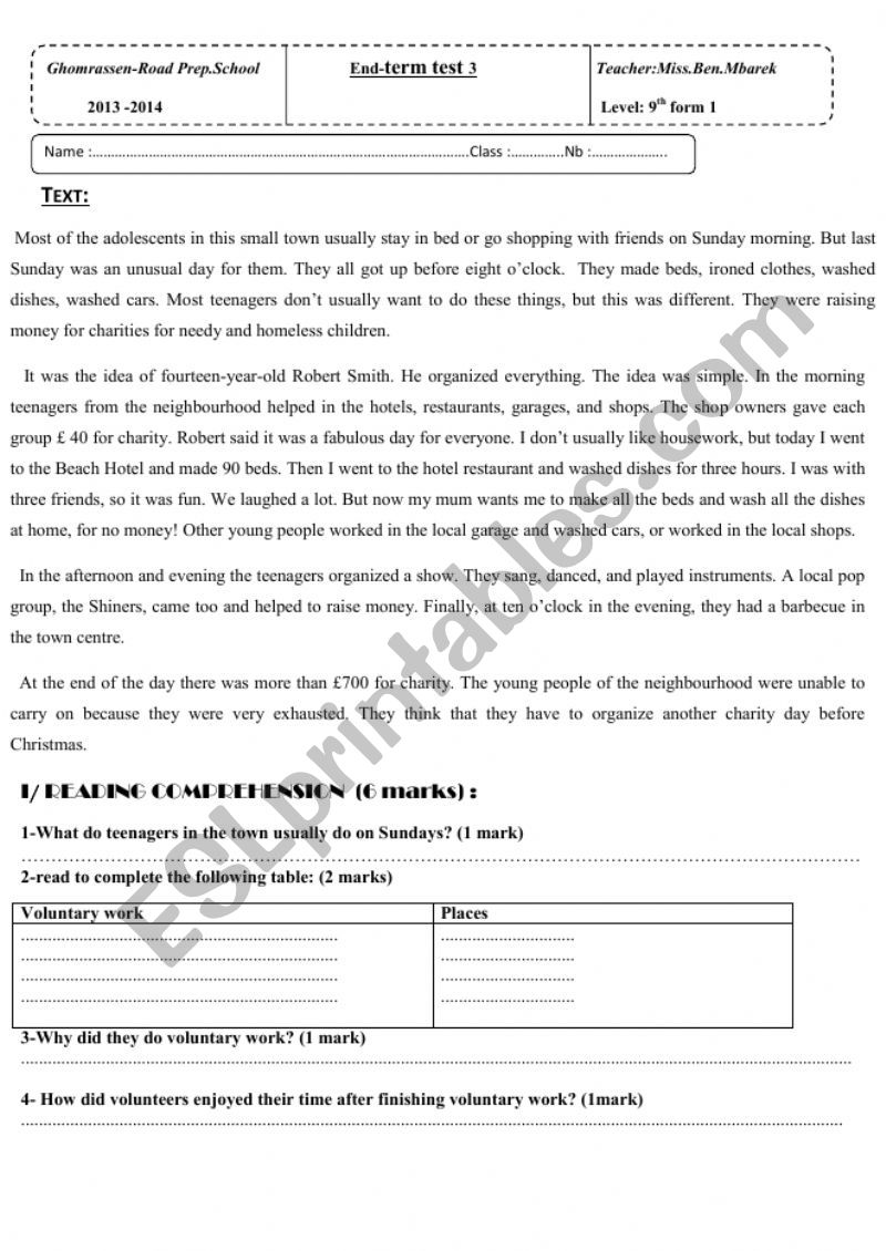 end of term test 3 9th form worksheet