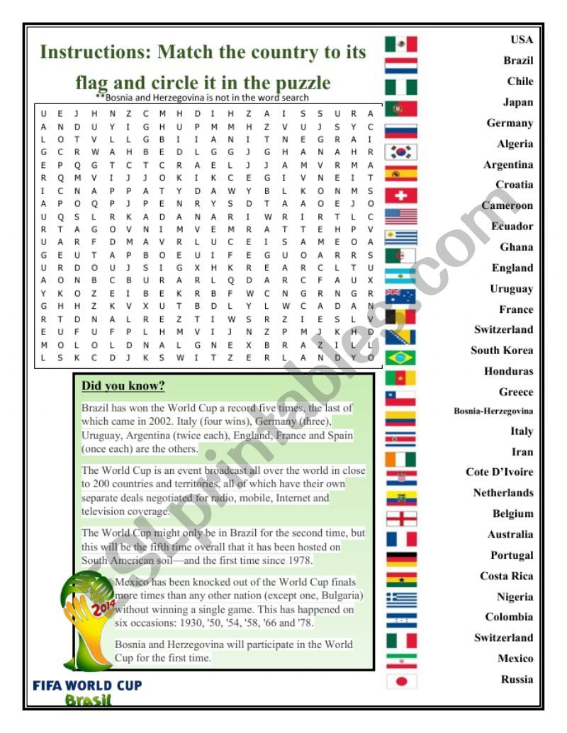 World Cup 2014 matching and word search