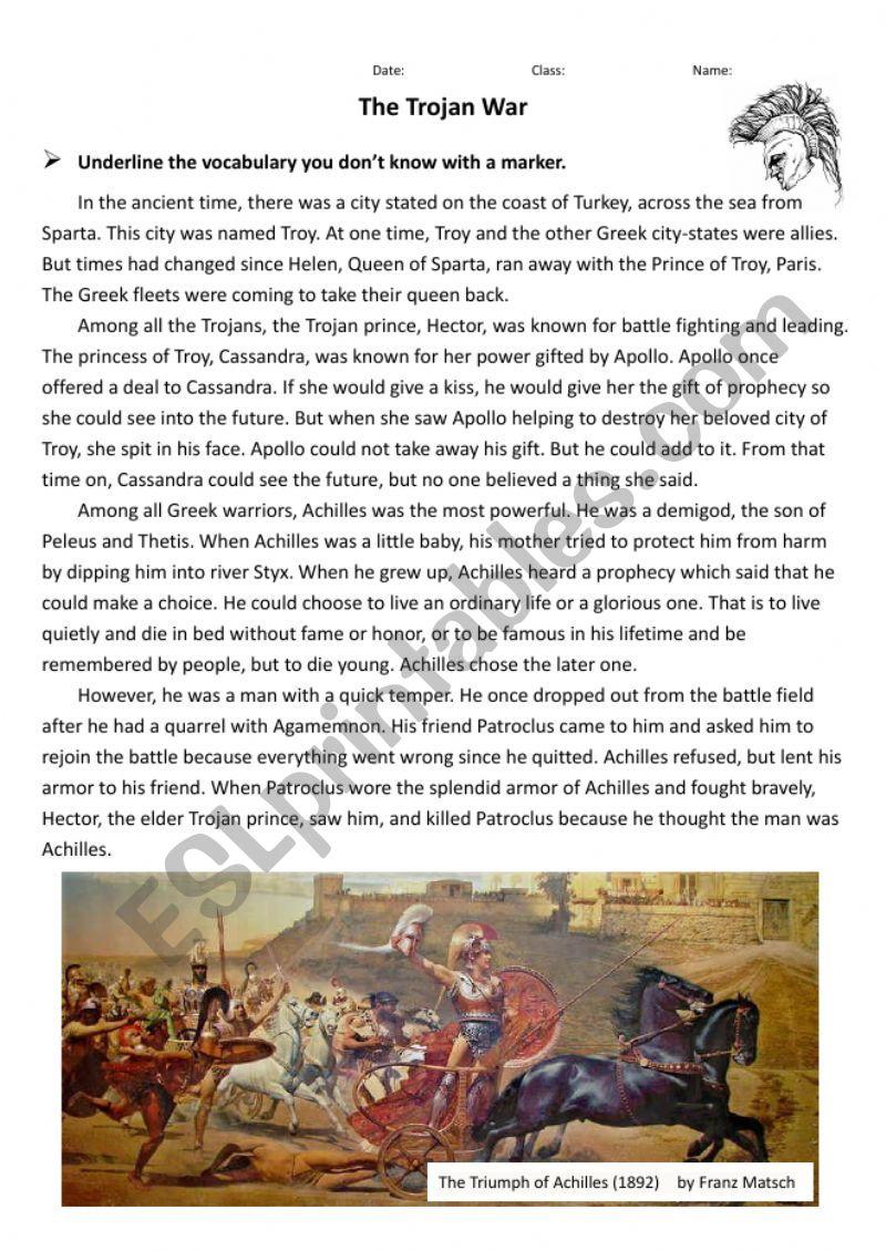 Greek Mythology Trojan War Esl Worksheet By Slivia7933