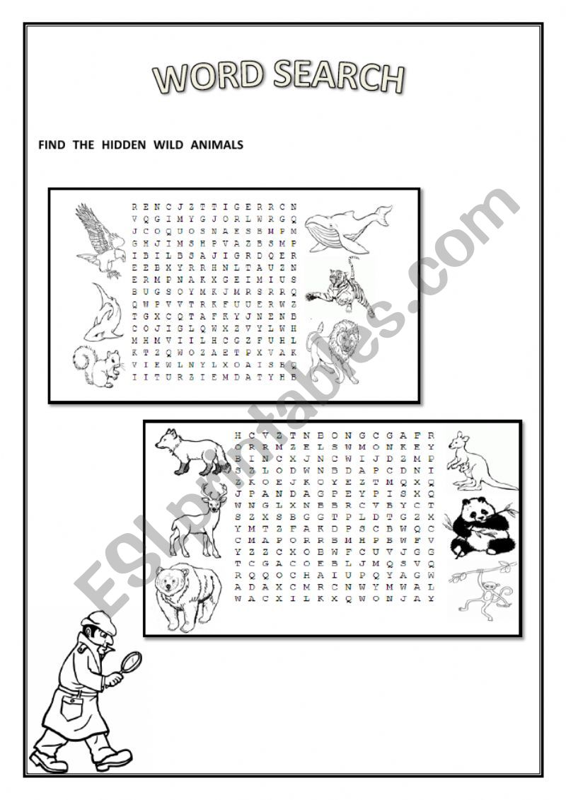 Wild Animals Word Search - ESL worksheet by laysadsds