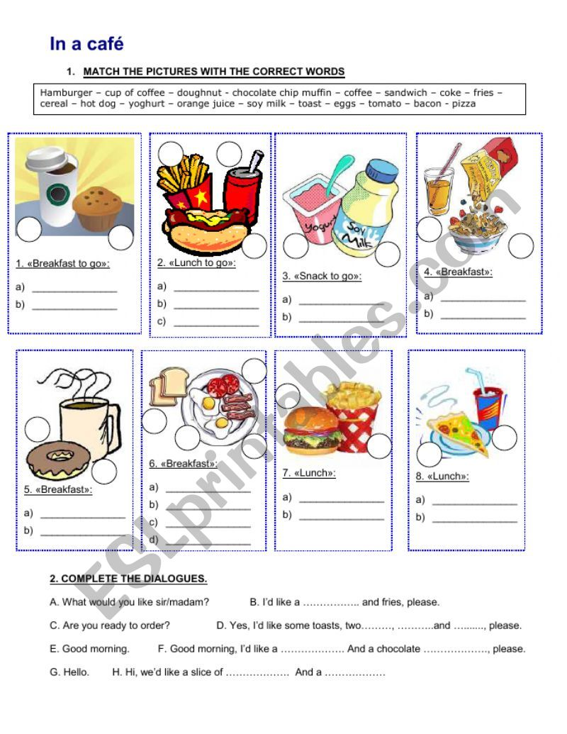 In a Cafe - Vocabulary and dialogue worksheet
