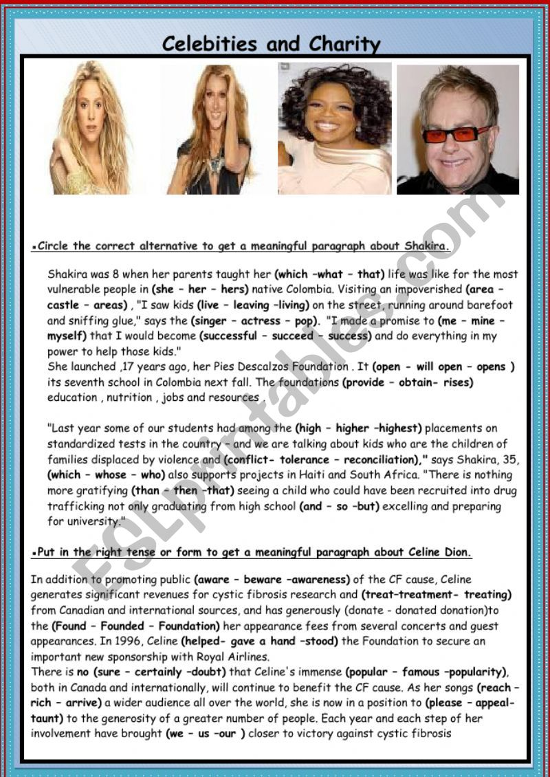 Celebrities and Charity worksheet