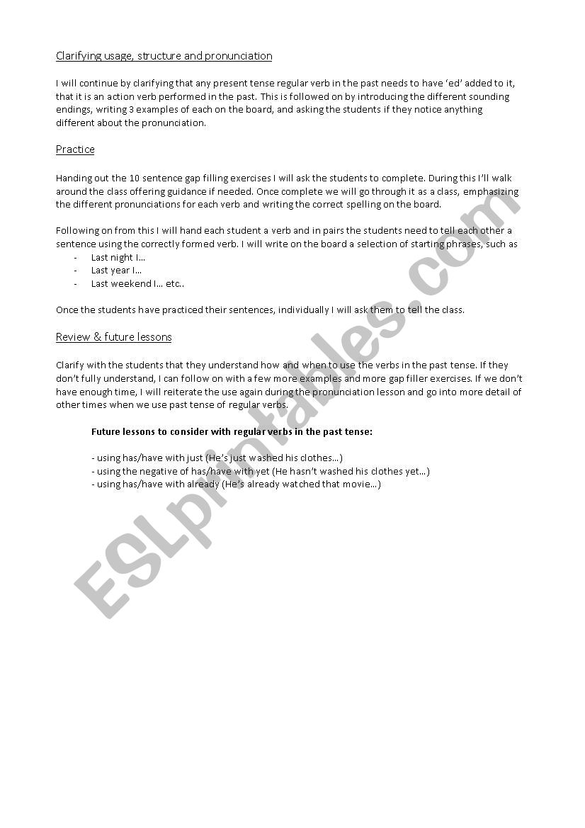 Lesson Plan - Regular verbs in the past tense (Elementary) - ESL