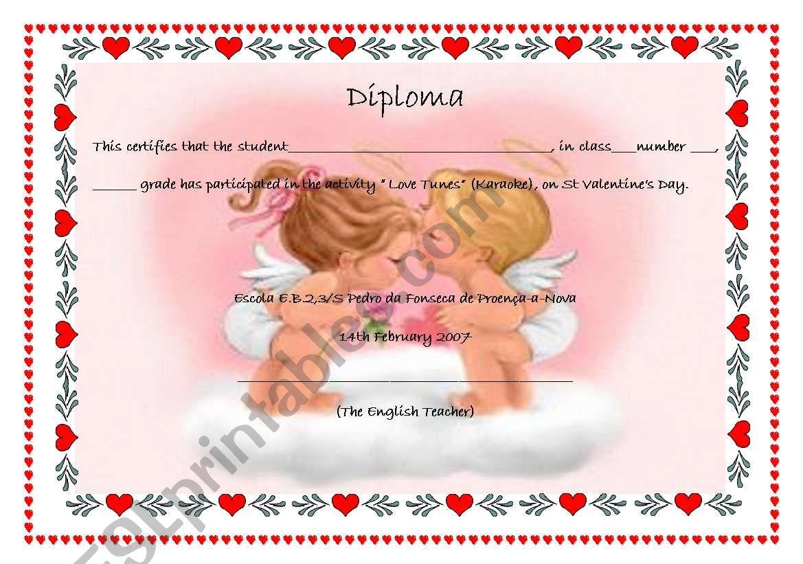Diploma St Valentine´s Day worksheet