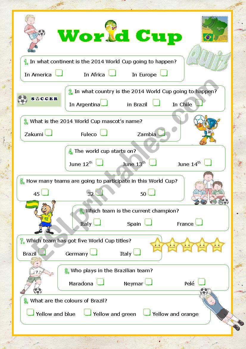 world cup 2014 quiz worksheet
