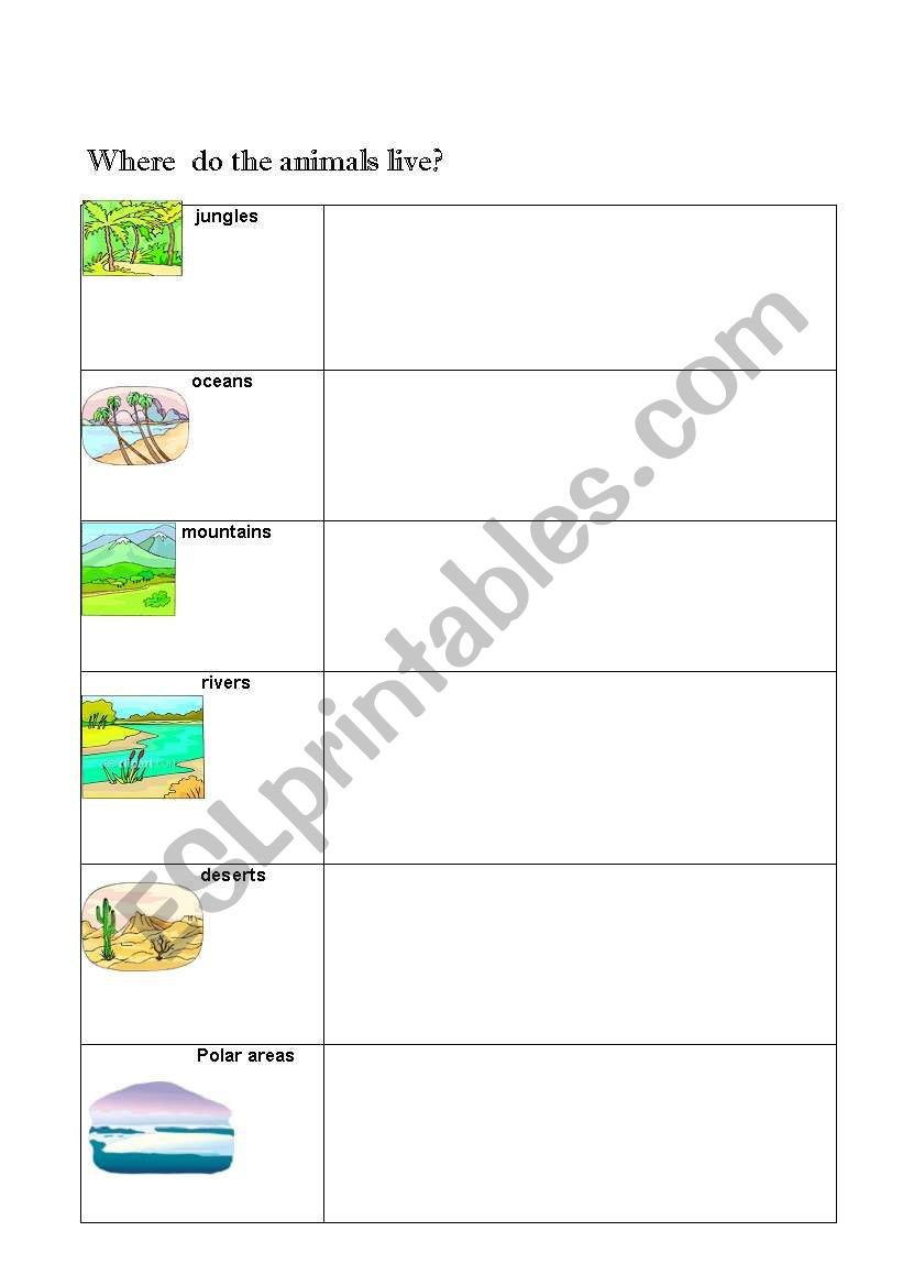 Where do the animals live? worksheet