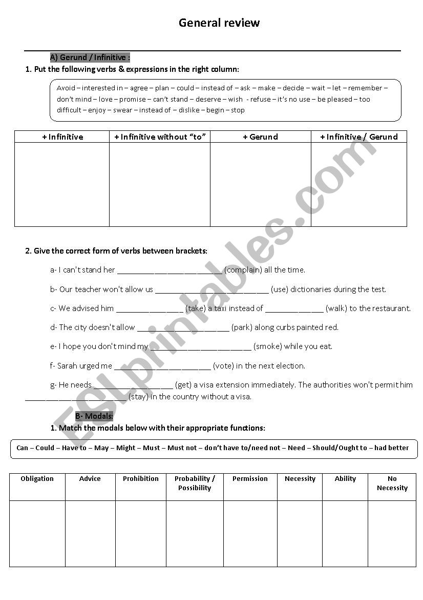 2nd Bac General Review worksheet
