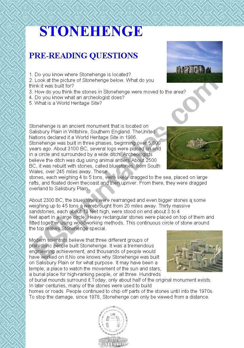 Stonehenge worksheet