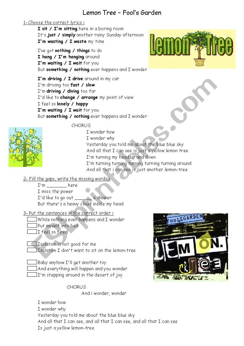 Song Lemon Tree Worksheet worksheet