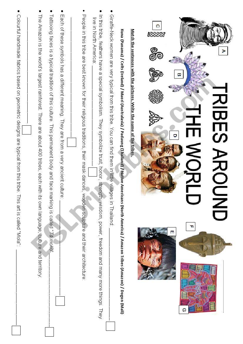 TRIBES AROUND THE WORLD worksheet
