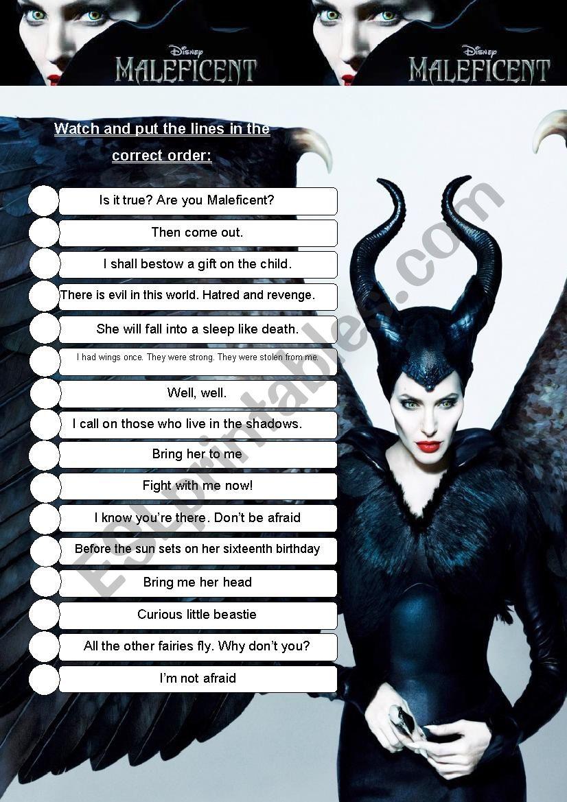 Maleficent worksheet