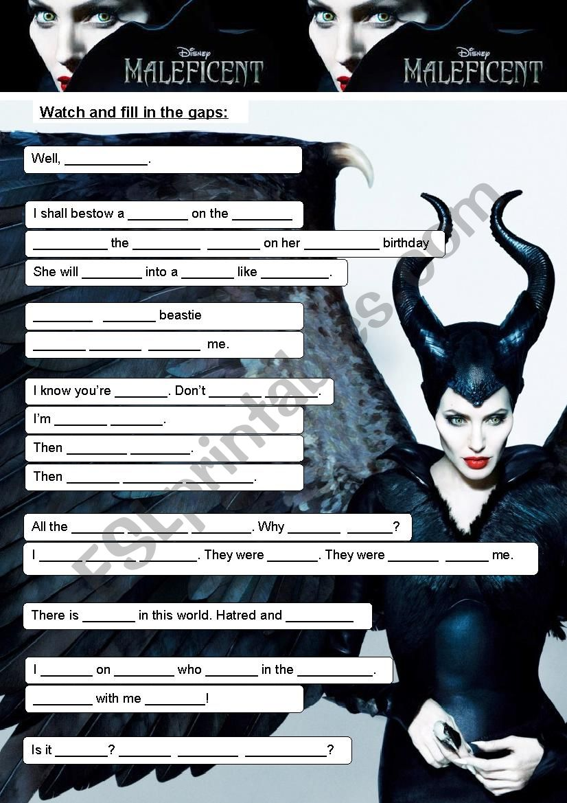 Maleficent (2) worksheet