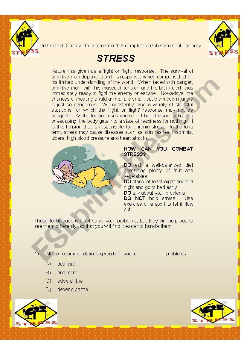 Reading comprehension-Stress worksheet
