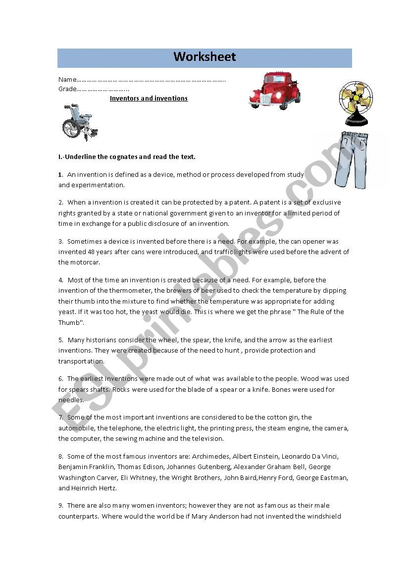 inventions and inventors - ESL worksheet by yoyita