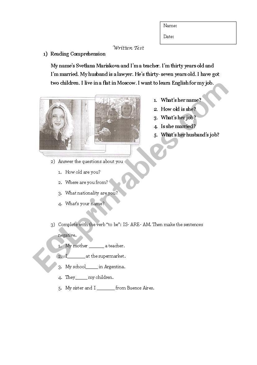 Writtwn Test Adults worksheet