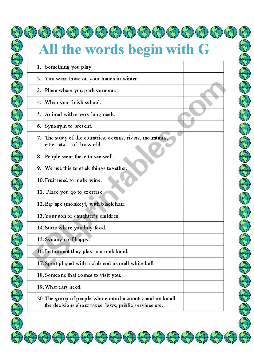 All the words begin with G worksheet