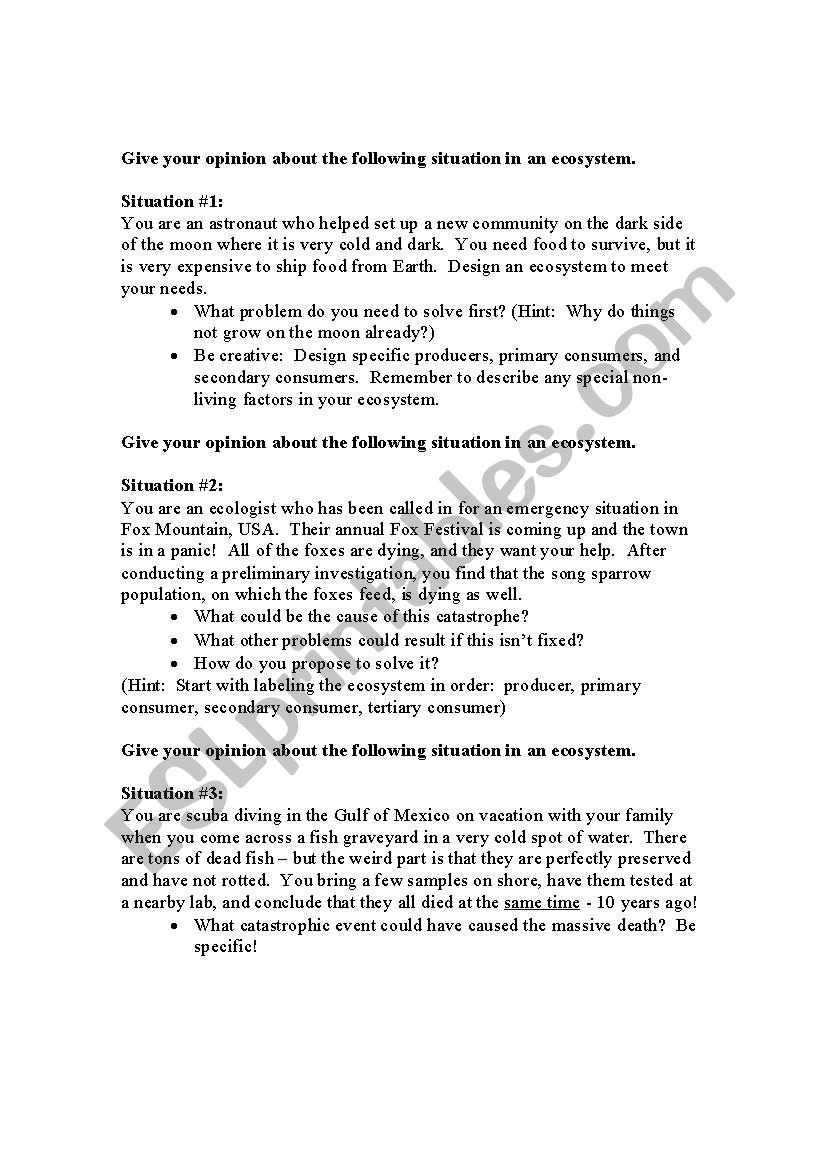 Environmental situations worksheet