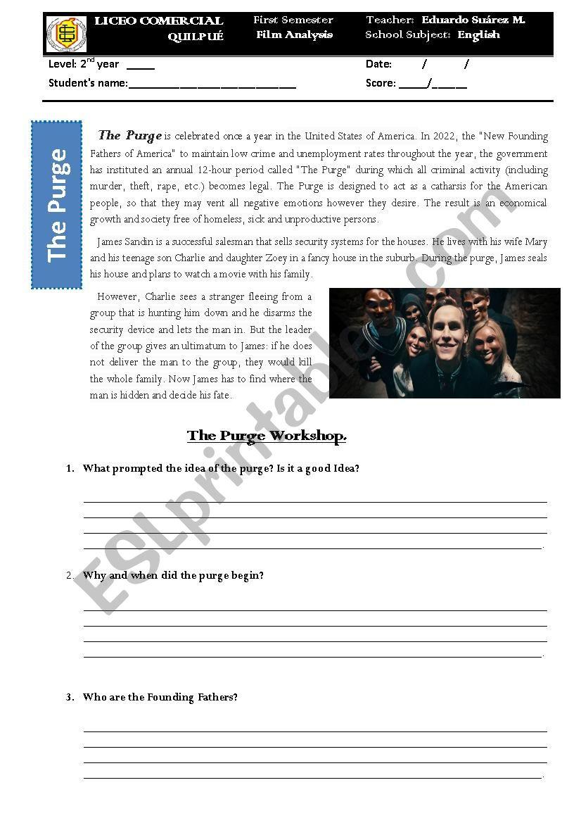 The Purge Movie Analysis Esl Worksheet By Eduthoreau