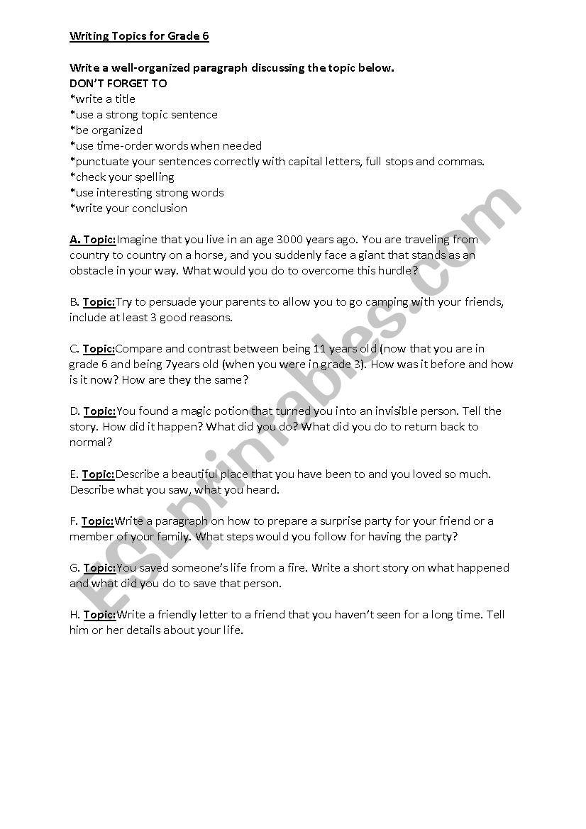 writing topics for grade 6 esl worksheet by reemsancil. Black Bedroom Furniture Sets. Home Design Ideas