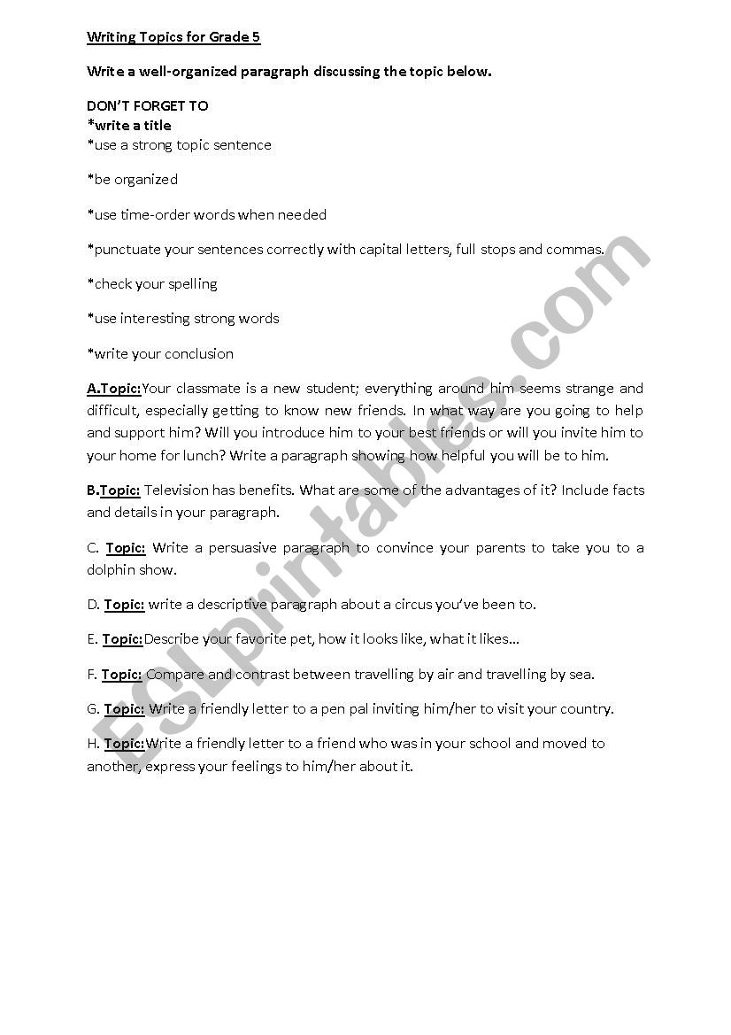 topics for paragraph writing for grade 5