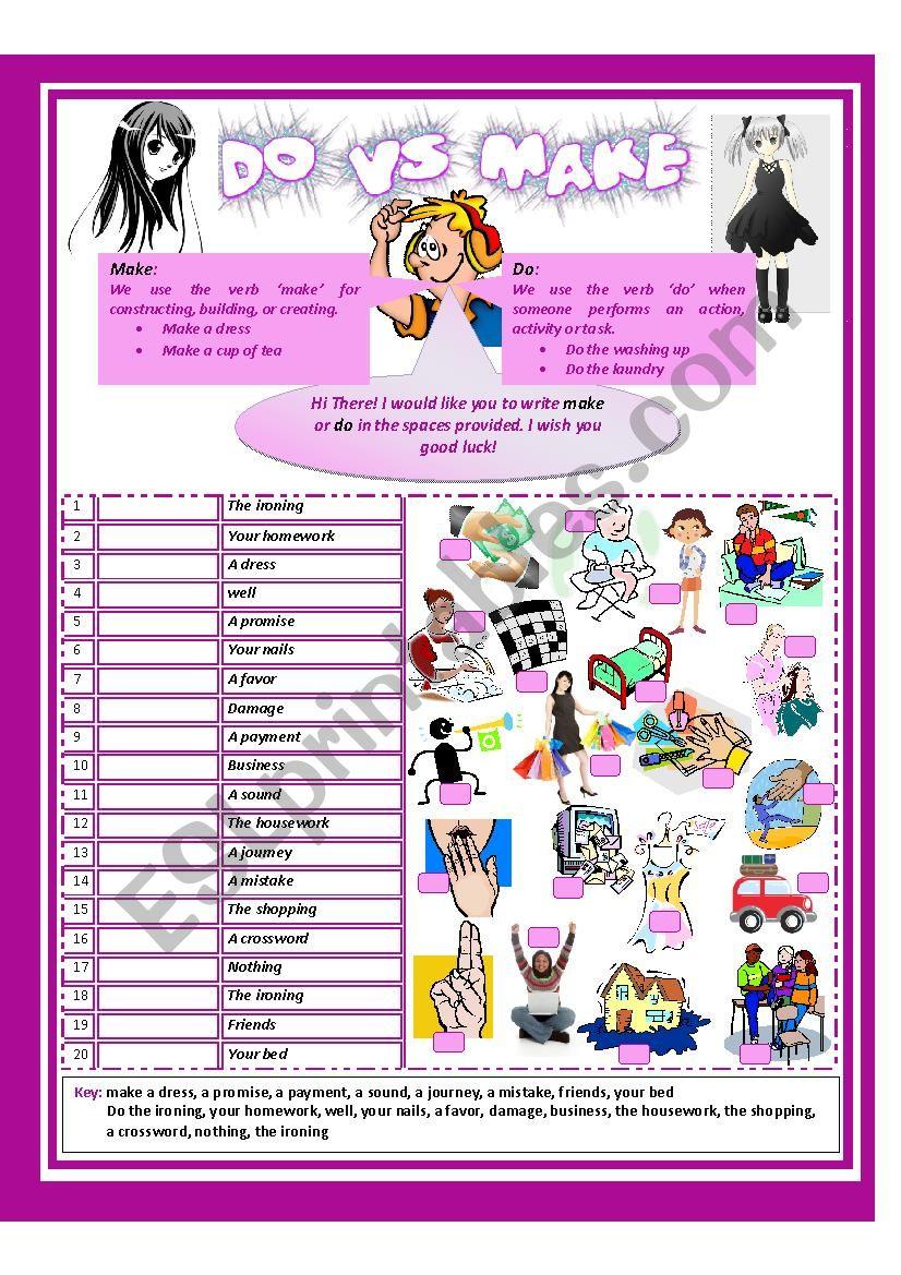 Make Vs Do worksheet