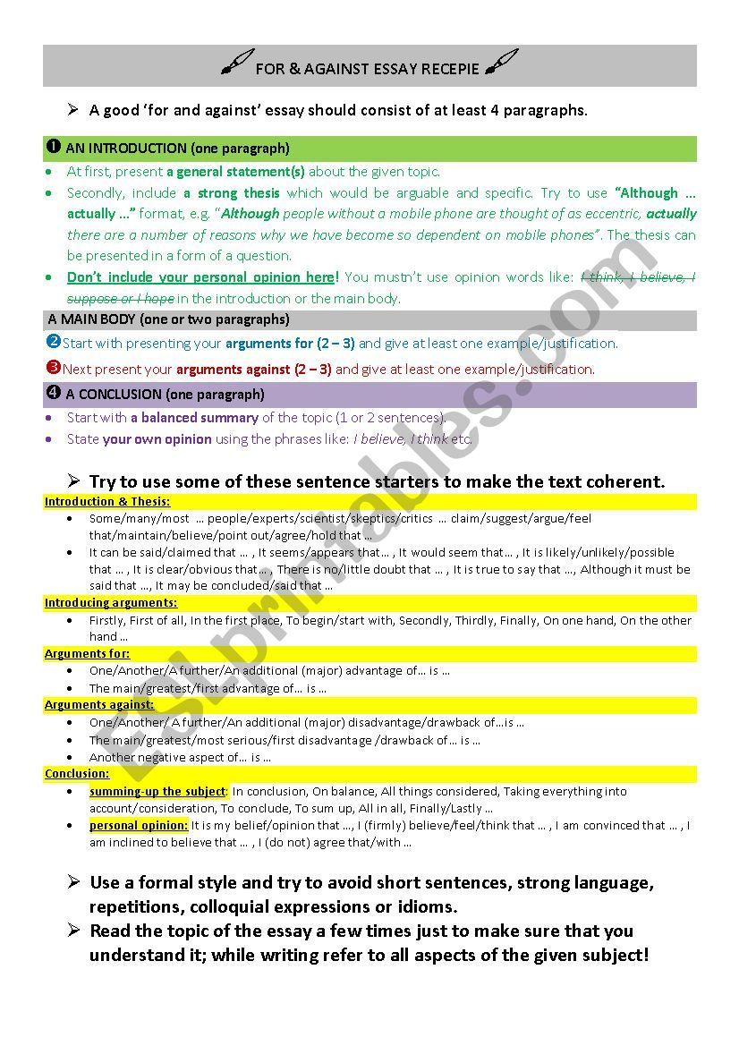 FOR & AGAINST ESSAY RECIPE worksheet