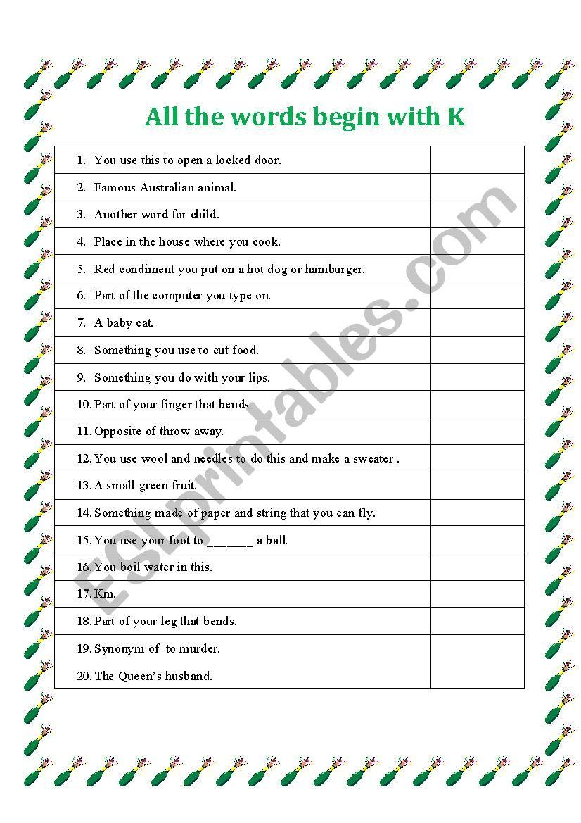 All words begin with K worksheet