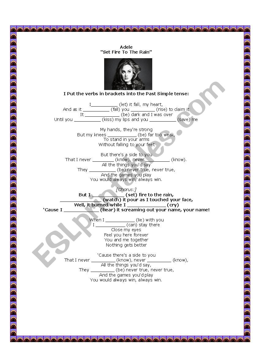 Set Fire to the Rain - Adele - ESL worksheet by Angelica I