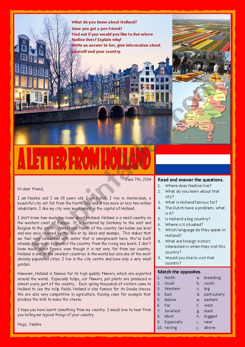 A letter from Holland (Reading, answering questions and writing a