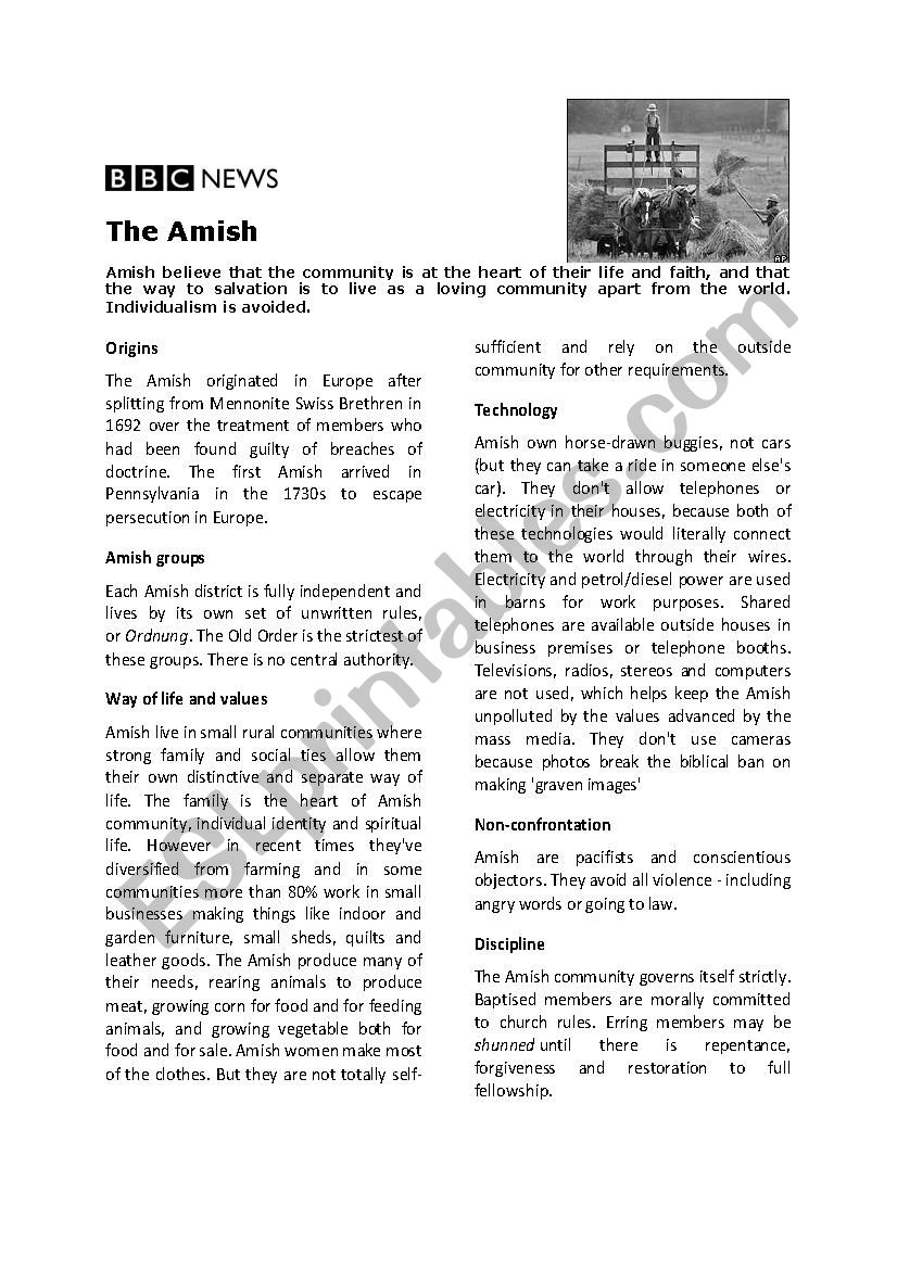Amish reading comprehension worksheet